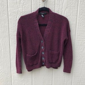 Red and Black Marled Cardigan from Forever 21